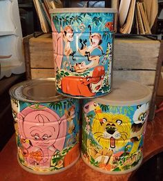 3 Vintage Jungle Animals Colorful Folger's Coffee Cans | eBay