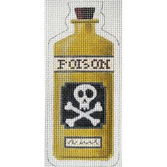 Poison Halloween Bottle Needlepoint Canvas by Kirk & Bradley