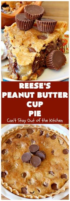 cookie butter pie Reese's Peanut Butter Cup Pie is the ultimate dessert experience! This fantastic pie is rich, decadent & so delectable it will satisfy any sweet tooth craving. Peanut Butter Cup Cheesecake, Peanut Butter Cup Cookies, Chocolate Peanut Butter Cups, Peanut Butter Desserts, Chocolate Caramels, Chocolate Cheesecake, Chocolate Peanutbutter Pie, Peanut Butter Lasagna, Toffee Cheesecake