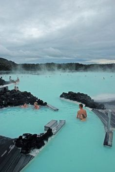 Blue Lagoon, Iceland, a geothermal spa. The outdoor bath remains 100-110°F year round. The natural ingredients of the warm water: mineral salts, white silica, and blue green algae. These ingredients clean, exfoliate, nourish, and soften the skin while relaxing the body.