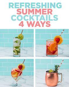 Refreshing Summer Cocktails 4 Ways | Recipes