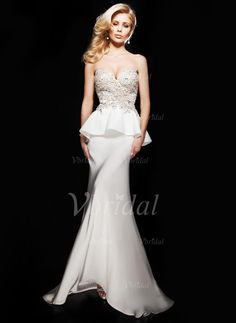 Sheath/Column Strapless Sweetheart Court Train Satin Evening Dress With Beading Appliques Lace (0175056845) - Vbridal
