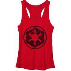 Fifth Sun Star Wars Empire Emblem Tank (€24) ❤ liked on Polyvore featuring tops, empire tank, empire top, red tank top, fifth sun and red top