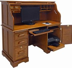 ROLL TOP COMPUTER DESKS | Home > Roll Top Desks > Oak Roll Top Computer Desk