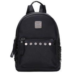 Faux PU Leather Black Medium-Capacity Rivet Accent Fashion Backpack