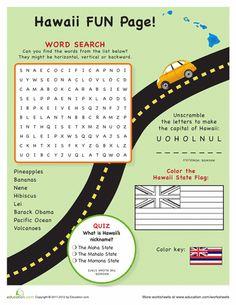 Worksheets: Hawaii Fun Facts