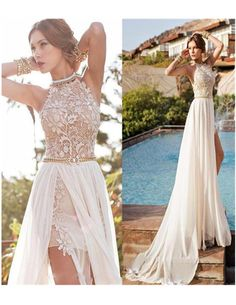 Elegant A-line Halter Prom Dress,High Neck Floor-length Beach