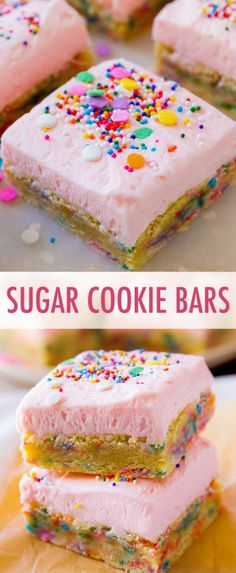 These frosted sugar cookie bars are soft, chewy, and topped with creamy vanilla . - Sally's Baking Addiction Recipes - These frosted sugar cookie bars are soft, chewy, and topped with creamy vanilla . Sugar Cookie Bars, Sugar Cookie Frosting, Monster Cookie Bars, Sugar Cookies, Cookie Dough, Köstliche Desserts, Delicious Desserts, Vanilla Desserts, Delicious Cookies