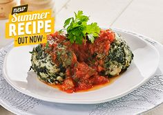 Spinach Dumplings with Tomato and Herb Sauce recipe - Easy Countdown Recipes Kiwi Recipes, Summer Recipes, Healthy Recipes, Free Recipes, Herb Sauce Recipe, Spinach Balls, Healthy Eating, Healthy Food, Kitchens