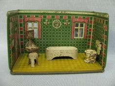 MARX TIN 1920s NEWLYWED ROOM = Complete 4-pc BATHROOM & BOX & Furniture