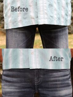 The ideal length for an untucked men's shirt is about halfway between the belt and the bottom of the zipper.