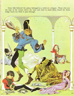 Sleeping Beauty  Vintage Illustration Storybook Print  Deans