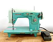 http://www.etsy.com/treasury/MTAzOTQ2MDd8MjcyMTEyMTQ4OQ/vintage-gifts-in-mint-conditionvintage sewing machine, White brand, turquoise, blue, mint green colour, working condition