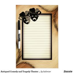 Antiqued Comedy and Tragedy Theater Masks Jester Dry-Erase Board 30% off