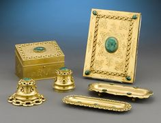 Antique Objets d'Art, Antique Desk Accessories, Malachite Desk Set ~ M.S. ...rauantiques.com
