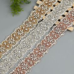 Aliexpress.com   Buy 10Yards Wholesale Sewing Bridal Beaded Rose Gold  Silver Crystal Rhinestones Appliques Trim For Wedding Dress Belt Sashes  from Reliable ... 110f7fdd428a