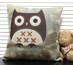 Novelty Lovely Bird Cartoon Owl pattern cushion cover