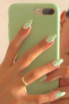 Mint Green Nails, Mint Nails, Yellow Nails, Mint Nail Art, Pastel Nail Art, Summer Acrylic Nails, Best Acrylic Nails, Summer Nails, Nagellack Design