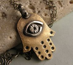 Mixed Metal Hamsa Necklace  Amulet Necklace  by suntribedesigns, $68.00