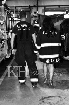A sweet couple [my best friend and her hubby to be] that I did engagement pictures for! He is a firefighter [shocker] and I just loved the environment. It was so..... real! #firefighter engagement pictures #engagement pictures #unique engagement pictures