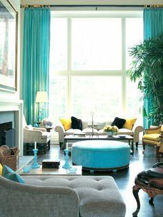 home inspiration, living room decor, colorful living room, susanna salk decor, blue living room, bright living room