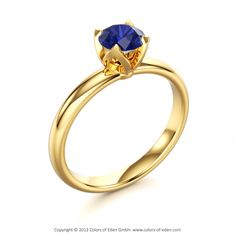 """Yellow Gold Blue Sapphire Engagement Ring - """"Evening Star"""""""
