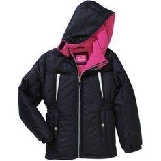 Pink Platinum Girls' Stamp Print Active Jacket with Pockets, Size: 10/12, Black