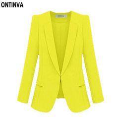 Ladies Yellow Blazer Feminino Plus Size 4XL Formal Jacket Women's White Blaser Rosa Female Blue Women Suit Office Ladies 2017 #ONTINVA #blazers #women_clothing #stylish_blazers #style #fashion