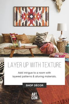Take on texture with this collection of accessories that includes ultra-plush wall hangings, colorful throw pillows, and whimsical sculpture. The end result is an alternative appeal, created by curating a series of accessories into one incredible room.
