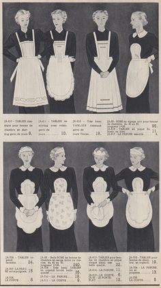 1930s maids uniform aprons