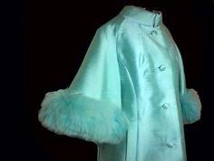 madmen MOD LILLI ANN vintage 60s AQUA blue silk FOX FUR cape dress jacket swing coat #LilliAnn