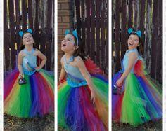 Ispirato costume da Handmade Tutu vestito Rainbow dash - festa di compleanno di arcobaleno, Tea party, dimensione nb a 12 anni
