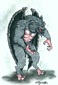 Batsquatch- North American cryptid: a bat/primate hybrid. Its said to have purplish skin or fur, pterodactyl wings, and a face that combines bat and primate features. It lives in Mt. Saint Helens in Washington and is blamed for some disappearances of livestock.