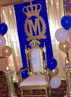 Chair of honor at a royal prince birthday party! See more party ideas at CatchMyParty.com!