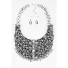 Tobi Page Statement Necklace Set (€36) ❤ liked on Polyvore featuring jewelry, necklaces, silver, double layer necklace, bib necklaces, bib jewelry, silver jewellery and silver jewelry