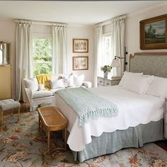 Love this room! Create a cohesive look by upholstering one or two pieces in the same fabric, like the headboard and vanity stool in this master bedroom. Home Bedroom, Bedroom Furniture, Master Bedroom, Modern Bedroom, Contemporary Bedroom, Cottage Bedroom Decor, Bedroom 2018, Master Suite, Antique Furniture