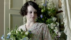 Daisy at her bedside wedding to William Mason at Downton Abbey, late summer 1918.