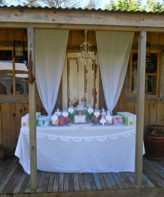 Rustic garden candy table