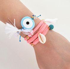 Handmade greek jewelry and crochet accessories! Evil Eye Jewelry, Evil Eye Bracelet, Heart Bracelet, Beach Bracelets, Love Bracelets, Friendship Bracelets, Polymer Clay Charms, Polymer Clay Jewelry, Bohemian Jewelry