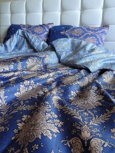 EXPRESS SHIPPING Full / Double / Queen Duvet Cover  Full Set Blue Damask Pattern Cotton Satin Fabric with Euro sham pillowcases