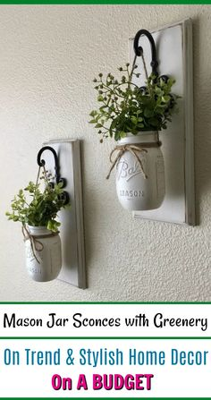 $40.00  These Rustic, Farmhouse-style Mason jar sconces are the perfect touch to your home decor. They bring warmth and beauty to any room. The decorative edges on these beauties make such a statement. Elegant and charming! #homedecor #cheap #rustic #budget #AD #home #decor #ideas #diyhomedecor #interior #interiordesign #design #house #style #affordable #farmhouse #country #love #beautiful #sale