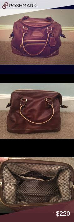 Longchamp bowler bag I purchased this bag off of eBay and the seller was adamant about it being authentic. I cannot personally guarantee that it is and therefore I am selling it at a lower price. It is, however, a great big, vintage bag that holds a ton of stuff and is a great carry on. It is dark brown with gold piping. The lining does not have any stains, but the outside contains a few scratches on the leather as well as the corners from wear. Let me know if you have any questions…