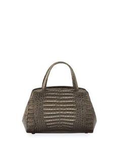 NANCY GONZALEZ Crocodile Small Satchel Bag, Metallic Brown. #nancygonzalez #bags #hand bags #satchel #metallic #