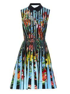 MARY KATRANTZOU Dew Techno Flowers Stripe-print dress