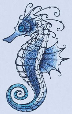 Ocean Blue - Seahorse_image Mores Seahorse Drawing, Seahorse Tattoo, Seahorse Art, Seahorses, Tattoo Bird, Ocean Drawing, Seahorse Painting, Watercolor Painting, Tattoo Tree
