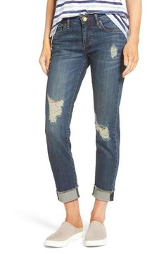KUT from the Kloth Womens Amy Crop Straight Leg w//Roll Up Fray in Optic White