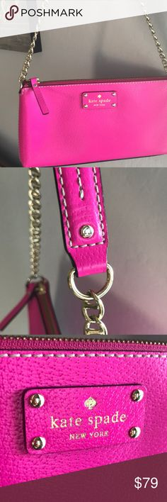 """Kate ♠️ Spade Wellesley Byrd bag Kate Spade ♠️ New York Wellesley Byrd in hot pink  Gold chain. Inside Kate Spade ♠️ silk lining 5 1/2"""" x 10 1/2"""" ✨Gorgeous hot pink ✨excellent condition/carried 2-3x ✨zipper closure kate spade Bags Shoulder Bags"""