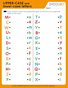 Upper-Case and Lower-Case Letters - Free Worksheet for Kids