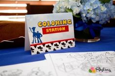 Coloring Station from a Toy Story Themed Birthday Party via Kara's Party Ideas   The Place for All Things Party! KarasPartyIdeas.com (25)