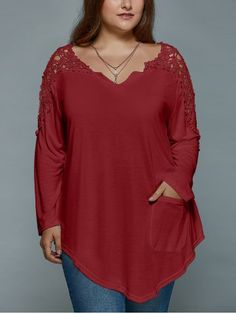 GET $50 NOW | Join RoseGal: Get YOUR $50 NOW!http://www.rosegal.com/plus-size-t-shirts/plus-size-lace-spliced-asymmetric-979212.html?seid=ka09mgkeouq3sfhjm3i5k9fcq7rg979212